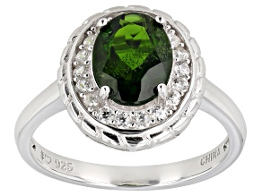 Green chrome diopside rhodium over sterling silver ring 2.03ctw