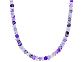 Purple Mexican opal bead strand sterling silver necklace