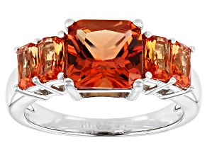 Orange Lab Created Padparascha Sapphire Rhodium Over Silver Ring 3.33ctw