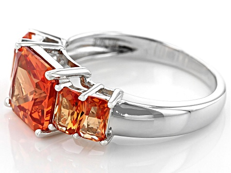 Orange Lab Created Padparadscha Sapphire Rhodium Over Silver Ring 3.33ctw