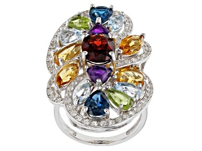 Multi-Gemstone Rhodium Over Silver Ring 8.72ctw
