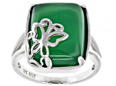 Green Onyx Rhodium Over Silver Ring