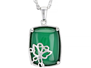 Green Onyx Rhodium Over Silver Pendant W/Chain