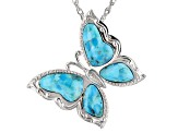 Blue Turquoise Rhodium Over Sterling Silver Butterfly Brooch/Slide/Enhancer with Chain