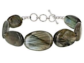 Gray Labradorite Rhodium Over Sterling Silver Bracelet
