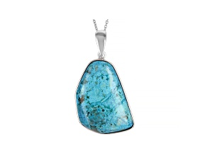 Blue Chrysocolla rhodium over silver enhancer with chain