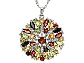 Multi-Gemstone Rhodium Over Sterling Silver Pendant with Chain 6.89ctw