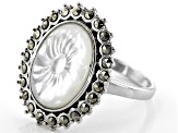 White Mother-Of-Pearl rhodium over silver ring