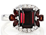 Red garnet rhodium over sterling silver ring 3.28ctw
