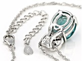 Teal fluorite rhodium over sterling silver pendant with chain 4.46ctw