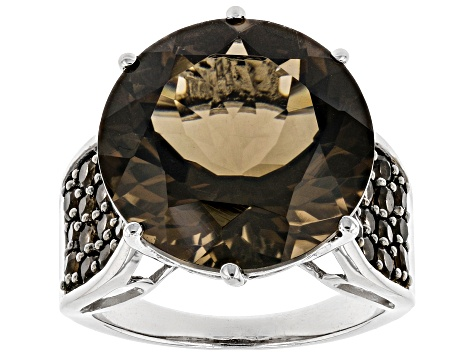 Brown Smoky Quartz Rhodium Over Sterling Silver Ring 12.61ctw