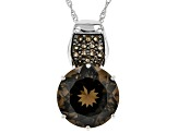 Brown Smoky Quartz Rhodium Over Sterling Silver Pendant with Chain 12.26ctw