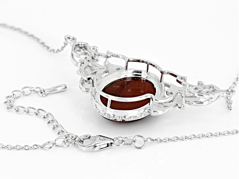 Red tiger's eye rhodium over sterling silver necklace