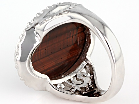 Red tiger's eye rhodium over sterling silver solitaire ring