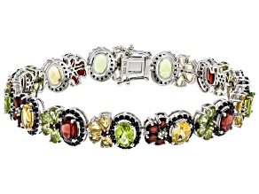 Mixed Multi-Gemstone Rhodium Over Silver Bracelet 20.76ctw