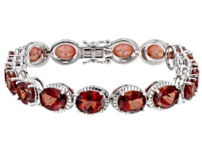 Red Labradorite Rhodium Over Sterling Silver Bracelet 15.90ctw