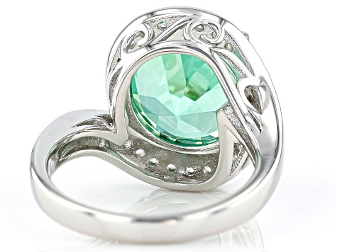 Green Lab Created Spinel Rhodium Over Silver Ring 7.12ctw