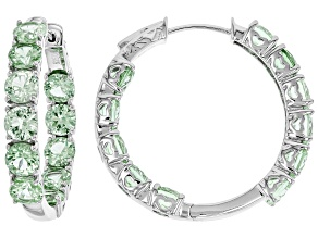 Green Lab Created Spinel Rhodium Over Silver Hoop Earrings 10.88ctw