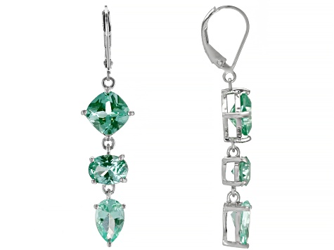 Lab created green spinel rhodium over silver dangle earrings 8.98ctw