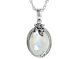 White rainbow moonstone rhodium over silver enhancer with chain