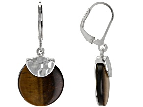 Brown Tiger's Eye Rhodium Over Sterling Silver Earrings