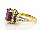 Red ruby 18k yellow gold over silver ring 4.42ctw