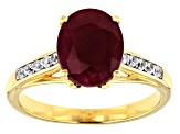 Red Ruby 18k Yellow Gold Over Sterling Silver Ring 3.32ctw