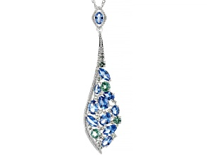 Blue Lab Created Spinel Rhodium Over Sterling Silver Pendant with Chain 6.47ctw