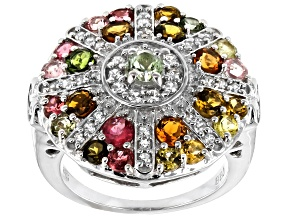 Mixed-color tourmaline rhodium over sterling silver ring 2.50ctw