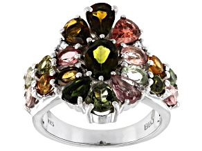Multi-Tourmaline Rhodium Over Sterling Silver Ring 3.86ctw