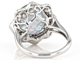 Multi-Color Quartz Rhodium Over Silver Ring 10.31tw
