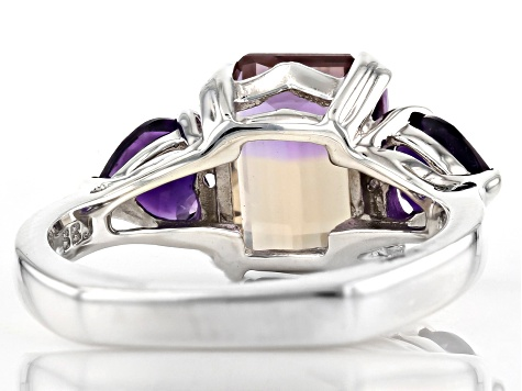Bi-Color Ametrine Rhodium Over Sterling Silver Ring 3.49ctw
