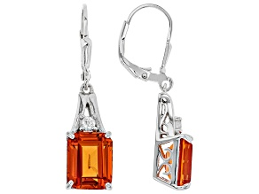 Orange Lab Created Padparadscha Sapphire Rhodium Over Silver Earrings 7.61ctw