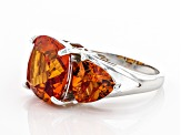 Orange Lab Created Padparadscha Sapphire Rhodium Over Silver Ring 12.11ctw