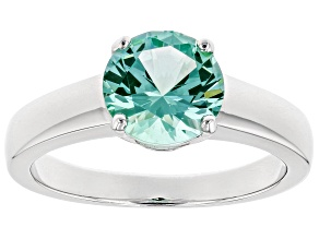 Lab created green spinel rhodium over silver ring 1.82ctw