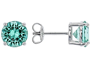 Lab created green spinel rhodium over sterling silver stud earrings 3.64ctw