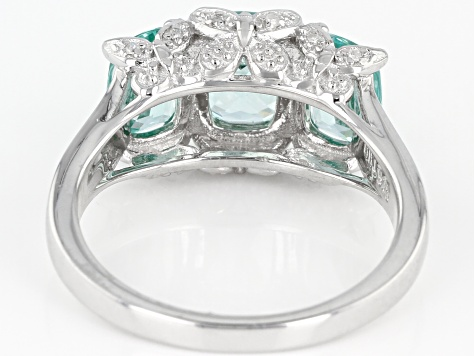 Green spinel rhodium over sterling silver ring 3.05ctw
