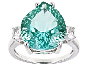 Green Lab Created Spinel Rhodium Over Sterling Silver Ring 10.78ctw