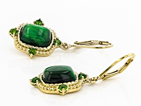 Green tiger's eye 18k yellow gold over silver earrings 6.04ctw