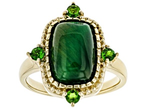 Green Tigers Eye 18k Yellow Gold Over Sterling Silver Ring .31ctw