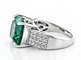 Lab created green spinel rhodium over silver ring 7.59ctw