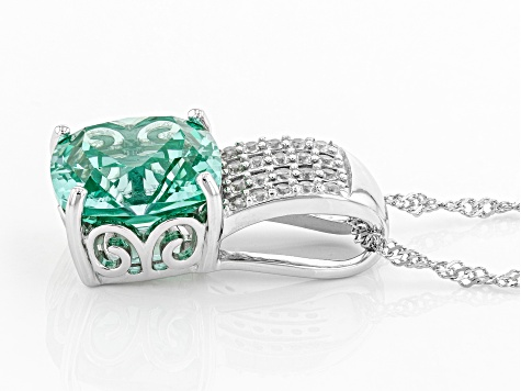 Lab created green spinel rhodium over silver pendant with chain 7.24ctw