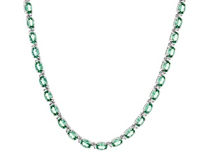 Lab created green spinel rhodium over silver necklace 12.45ctw