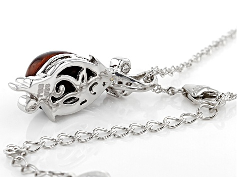 Red Tigers Eye Rhodium Over Sterling Silver Pendant with Chain .08ct