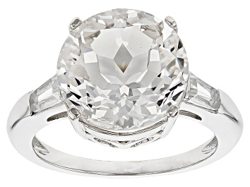 Picture of White Crystal Quartz Rhodium Over Sterling Silver Ring 5.14ctw