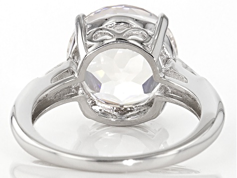 White Crystal Quartz Rhodium Over Sterling Silver Ring 5.14ctw