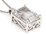 White Crystal Quartz Rhodium Over Sterling Silver Pendant with Chain 5.60ctw