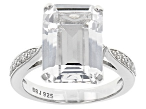 White Crystal Quartz Rhodium Over Sterling Silver Ring 5.76ctw