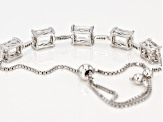 White Crystal Quartz Rhodium Over Sterling Silver Bolo Bracelet 6.06ctw