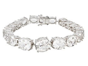 White Crystal Quartz Rhodium Over Sterling Silver Bracelet 26.60ctw